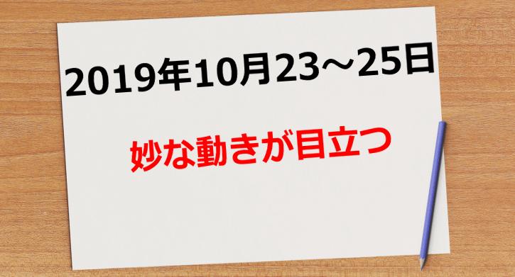 【2019年10月23日~24日】妙な動きが目立つ