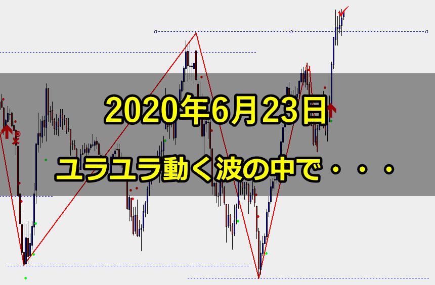 上位足の方向が明確な中で、激しい上下の動きに悩む(2020年6月23日)